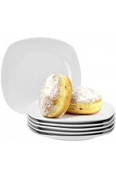 Van Well 6er Set Kuchenteller Lilli 190 x 190 mm Frühstücksteller Dessertteller Servierteller edles Markenporzellan glänzend klassisch weiß quadratisch