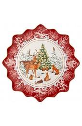 Villeroy & Boch - Toy\'s Fantasy Gebäckteller Waldtiere groß Gebäckteller aus Premium Porzellan mikrowellensicher 42 x 42 x 2 cm bunt/rot/weiß