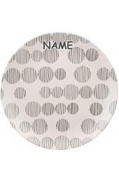 4 Stück Bambus - Teller - Speiseteller / Dessertteller - Punkte - grau & Creme - inkl. Name - Ø 20 cm - rund - BPA frei - Bambusfasern - Brotzeitteller - FL..