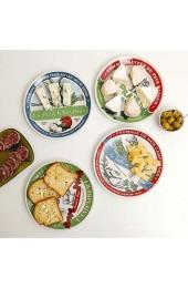 Amatable 39-2K-051 Käse-Teller rund Porzellan 19 x 2 cm mehrfarbig 4 Stück