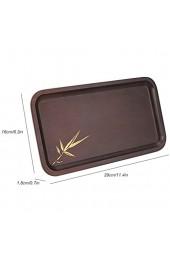 Bamboo Food Black Rechteckiges hölzernes Teetablett Holztablett für Tee Kaffee Snackplatte für Restaurant Küchenzubehör(L)