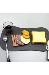 DOITOOL Schiefer Stein Gourmet Serving Platter Käse Bord Charcuterie Fach Anzeige Platte für Käse Fleisch Vorspeisen Getrocknete Obst Dessert Sushi Kuchen Schwarz