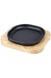 Heavy Bizzle-Platte Gusseisen Gusseisensteak-Platten-Sizzle-Gitter mit Holz-Basis-Steak-Pan Grill-Server-Teller-Startseite oder Restaurant (19/21 cm) (Size : 21cm)