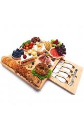 Landeluxe Käsebrett aus Bambus mit Besteck-Set Schalen mit Marmormuster Charcuter-Brett Vorspeisen-Serviertablett