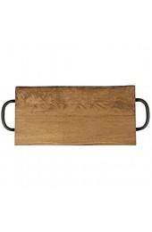 T&g Woodware Tablett aus Kautschuk mit Metallgriffen 40 x 20 cm