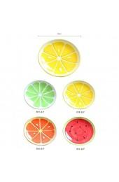 Hacoly Zitrone Teller Round Speiseteller Knödel Platzteller Platte Fortgeschritten Keramik Sushi Obstteller Etagere Süße handgezeichnete Frucht Schüssel Küchenutensilien Tools - Gelb
