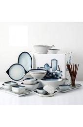 XCXDX Fischförmiges Porzellan-Geschirr Besteck 30 Stück Keramik-Dinner-Set Service Für 6 Personen