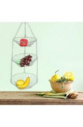 3-stufiger hängender Obstkorb Obst-Gemüse-Küchen-Aufbewahrungskorb aus Edelstahl