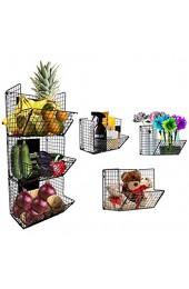 Aufbewahrungskorb mit 3 Ebenen zur Wandmontage faltbar zum Aufhängen Metalldraht Korb mit Kreidetafeln Küche Obst Speisekammer Badezimmer Wäsche Büro Garage Lagerung schwarz