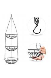 boogift Obstkorb zum Hängen Three-Layer Multi-Functional Hanging Basket for Fruit and Vegetables Suitable for Every Kitchen (schwarz)