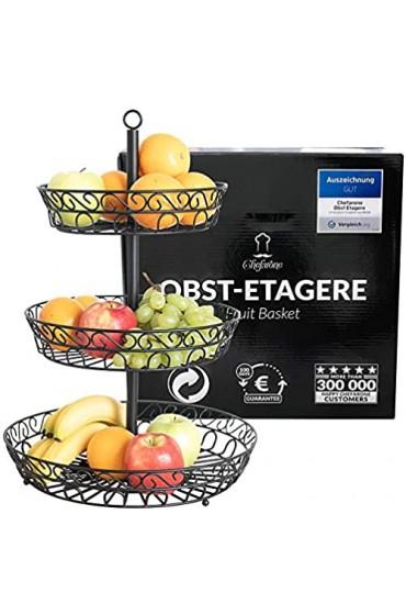 Chefarone Obst Etagere - Obstschale Metall für mehr Platz auf der Arbeitsplatte - dekorativer Obstkorb schwarz - Etageren mit Obstschalen (36 x 36 x 52 cm)
