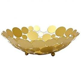 Larew Obstkörbe Metall Dekorativer Obstkorb Obstschale für Obst Gemüse Kleines Brot(Golden)/29.5 * 9CM