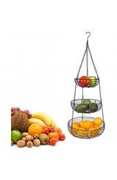 NNGT Obstkorb hängend mit Deckenhaken Küchenampel zum Aufhängen - Obst Hängekorb Küche Hängender Obstkorb Gemüsekorb aus Metall obstkorb hängend