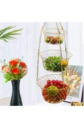 """POHOVE Hängekörbe Set 3 Ebenen Faltbare Obst Hängekorb Obst und Gemüse Lagerung Regal Korb Körbe 9"""" 9"""" 6"""""""