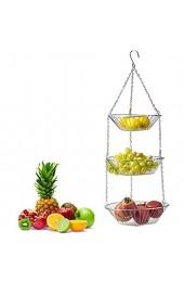 QoFina Hängekorb 3 Etagen hängende Obstkörbe Küchenampel für mehr Platz auf Ihrer Arbeitsplatte - Obst Hängekorb Küche 3 Ablagekörbe Eisen
