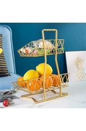 RAILONCH 2 Stöckig Obst Etagere Metall Früchtekorb Tischdekoration Obstkorb Abnehmbar Obstschale für Obst Brot Snacks Schwarz/Gold (Gold)