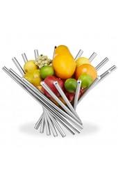 Relaxdays Obstschale modern Edelstahl Obstkorb gefächert Design Obsthalter Obst Gemüse Brot HxD: 26x38 cm silber