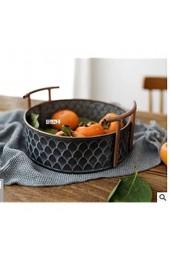Roselife-Vintage tieyi Storage Basket Make Old Craft Double Ear tieyi Bucket Fruit Dessert Bread Basket Kitchen Storage Basket Fruit Basket Fruit Bowl Metal Storage Basket Metal Display Bowl (Gray)