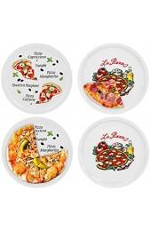 4er Set Pizzateller Napoli & Margherita groß - 30 5cm Porzellan Teller mit schönem Motiv - für Pizza / Pasta den \'großen Hunger\' oder zum Anrichten geeignet
