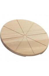 LAUBLUST Pizzabrett aus Buchenholz - Runder Pizzateller   Griff-Mulden & Schneide-Rillen - ca. 30x30x2cm Natur FSC®