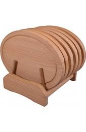 Tellergarnitur oval 7 - teilig 28 cm Buchenholz 6 Teller + Halterung natürlich geölt sehr robust und mit Saftrille