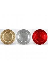 ETC dekorativer Teller Dekoteller Platzteller rund farbig oder metallic glänzend Preis für 1 x klein ca. 16 cm oder 2 x groß ca. 33 cm (rot-metallic ca. 33 cm)