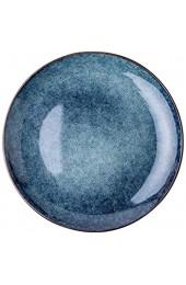 8 Zoll blau runde Platte Keramik Retro Flache Hause dinnerplatte Western Restaurant Steak Teller (Color : Blue Size : 8 inches)