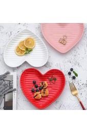 DAGONGREN Herzförmige Keramik-Schale-Elegante keramisch Heart Shaped Speiseteller/Salatteller/Dessertteller/Steak-Platte for Kitchen Party (Color : Pink)