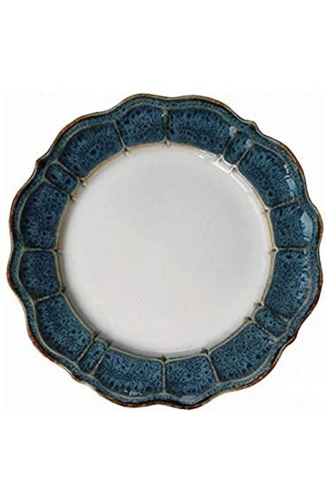 DAGONGREN Teller European Ceramic Dish Blue Petal Dish Western Steak Dish Startseite Dessert Dish Obstsalat