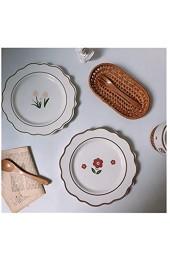 junfeng Teller Tulpe Keramikplatte Vintage Blume Dessertplatte (Color : Tulip)