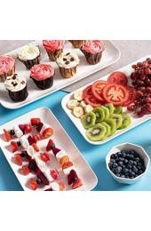 Katigan Platten Set Weiie Rechteckige Dessert/Salat Teller - Portion Tabletts für Partys Fleisch Sushi Ofenfestes Geschirr Set mit 3