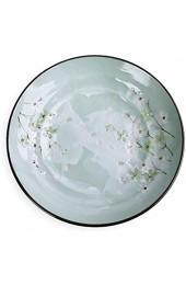 KOIYAKI Japan Porzellan mit grüne Blütenkirsche Teller für Pasta Nudeln verschiedenen Gerichten Salat Obst Nachtisch Ø 29cm H. 6cm (20013)
