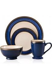 LKYBOA 4 Stück Europäischer Stil Blaue Keramik Geschirr Kombination Vintage Metall Glasur Klassische Relief Breite Seitenplatte Fruchtsalat Schüsselschale