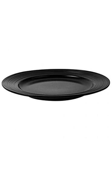 LYY Gewinde 8-Zoll-Porzellan-Dinnerplatte großes rundes tiefer Teller für Steak Pasta und Salat geeignet für Zuhause Restaurant und Hotel (Color : Black)