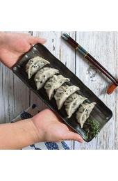 ShiSyan Salatteller Dessertteller Pasta Schalen Geschirr Sets Geschirr Black Matte rechteckigen Keramik Langen Streifen Teller Kuchen Snack Set Teller Fried Dumpling Sushi Dish Schalen Schüsseln