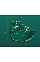 SHYPT Nordic Green Light Multi-Layer Keramik Obstteller Haushaltsmutter Dessert Gericht Snack Gold Rim Spiralplatte