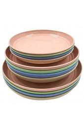 yywl Teller 12 Pack Weizen Strohplatten Set Abendessengerichte Abendessenplatte für Salat Teigwaren Steak Obst
