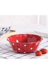 yywl Teller Koreanische Art-keramische Platten-Glasur Punkt Porzellan Teller-Salatschüssel Griff Bowl Set Frühstück Steak Dessert Tray Snack Gerichte (Color : Red Salad Bowl Plate Size
