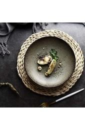 zvcv Abendessen Teller Set Kreative Steakplatte Haushalt Keramik Steinzeug Geschirr Retro Spaghetti Platte Frühstücksbrot Gebäckplatte