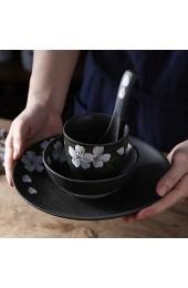zvcv Cerami-Schüssel im japanischen Stil Geschirr im japanischen Stil 4-teiliges Set Retro Schwarzer Salatteller Haushaltssuppenschüssel Dessertlöffel Ramen-Salat-Suppen-Obstschale