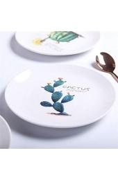 zvcv Keramikplatte Nordic Green Plate Kreative Platte Salatplatte Haushalt Keramik Geschirr Geschirrplatte Tablett 8 Zoll