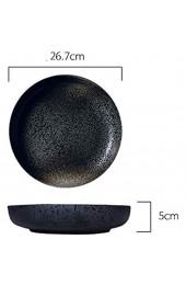 zvcv Kreative 10-Zoll-Keramikplatte Retro-Obstsalatplatte Ramen-Flachplatte im japanischen Stil Runde Große Suppenplatte Geeignet für Familien Restaurants