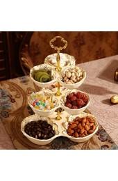 zvcv Snack Obstteller Keramik Obstteller Dreischichtiger Dessertteller Kuchenteller Mehrschichtiger Teigteller Wohnzimmer Candy Tray Shelf