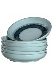 Leonardo Matera tiefe Keramik-Teller 6-er Set spülmaschinengeeignete Speise-Teller mit Glasur 6 runde Steingut-Teller Ø 20 7 cm blau 018546