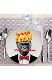 MUSTARD - Wild Dining Gorilla Dinner Plate I Keramik Teller I 100% Keramik I Runder Essteller I besonders I lustiger Speiseteller I Teller mit Tierprint I Geschenkidee für Studenten - Gary Gorilla