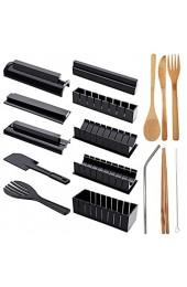 CHENKEE Sushi Machen Set 10 Stück DIY Kunststoff Sushi Maker kit Anfänger Maker Kit Schimmel mit 7-Teiliges Essstäbchenset für auch als DIY Geschenk