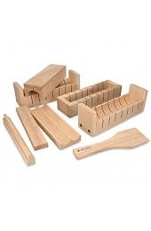 Navaris Sushi Set DIY aus Holz - 8teiliges Sushi Maker Kit aus Buchenholz - Sushi Roller Form zum selber machen - natürlich schadstofffrei einfach