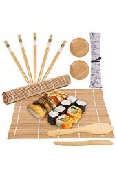 Sushi Maki Komplett-Set 12-teilig Bambus Sushi Maker inkl. 2 Sushi Rollmatte + 5 Paar Essstäbchen + 1 Reis-Palette + 1 Bambusmesser + 2 Teller + 1 Stofftasche