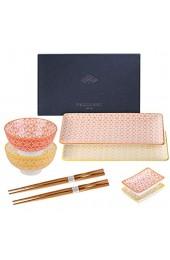 Vancasso Sushi Set Natsuki 8-teilig Bunte Sushi Teller Porzellan japanische ESS Service Geschirrset für 2 Personen Beinhaltet Sushi Teller Schalen Soßenschälchen und Essstäbchen