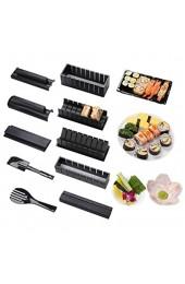 Virklyee Sushi Maker Kit 10 Stück DIY Sushi Set 5 Formen Sushi Maker Set Für Anfänger Easy Sushi Maker Einfach und Spaß Auch Als Geschenk (Schwarz)